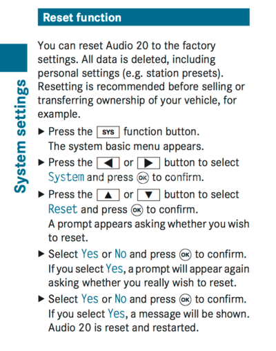 Audio 20 Reset
